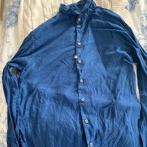 Armani Collezioni Long Sleeve Linen Blue Shirt M